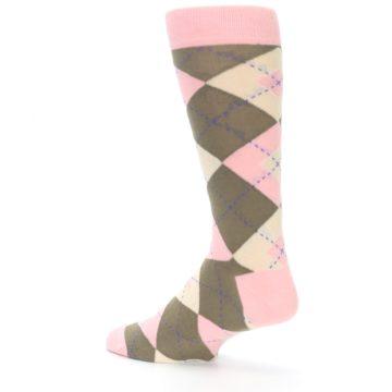 Image of Pink Brown Tan Argyle Wedding Groomsmen Men's Dress Socks (side-2-back-14)
