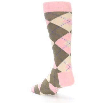 Image of Pink Brown Tan Argyle Wedding Groomsmen Men's Dress Socks (side-2-back-15)
