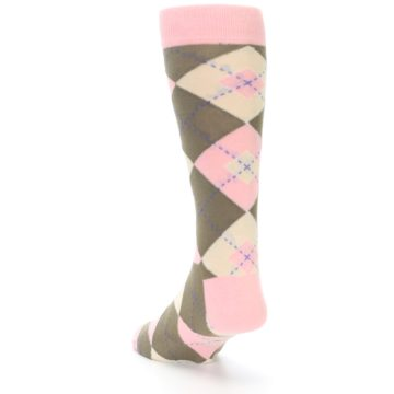 Image of Pink Brown Tan Argyle Wedding Groomsmen Men's Dress Socks (side-2-back-16)