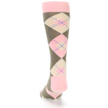 Image of Pink Brown Tan Argyle Wedding Groomsmen Men's Dress Socks (back-17)