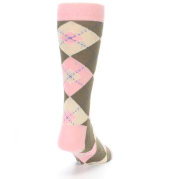 Image of Pink Brown Tan Argyle Wedding Groomsmen Men's Dress Socks (side-1-back-20)