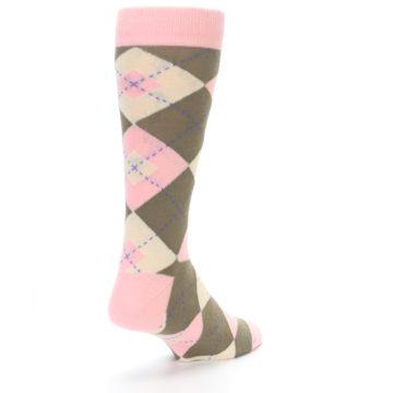 Image of Pink Brown Tan Argyle Wedding Groomsmen Men's Dress Socks (side-1-back-21)