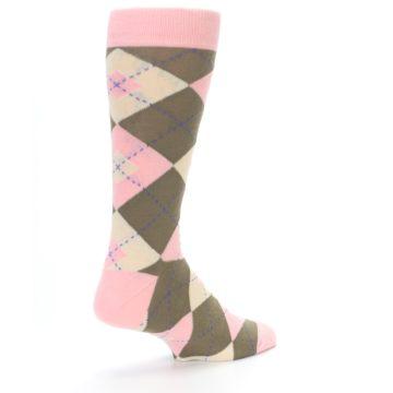 Image of Pink Brown Tan Argyle Wedding Groomsmen Men's Dress Socks (side-1-back-22)