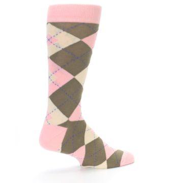 Image of Pink Brown Tan Argyle Wedding Groomsmen Men's Dress Socks (side-1-23)