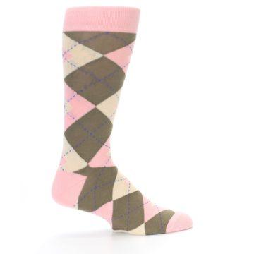 Image of Pink Brown Tan Argyle Wedding Groomsmen Men's Dress Socks (side-1-24)