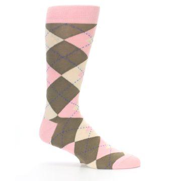 Image of Pink Brown Tan Argyle Wedding Groomsmen Men's Dress Socks (side-1-25)