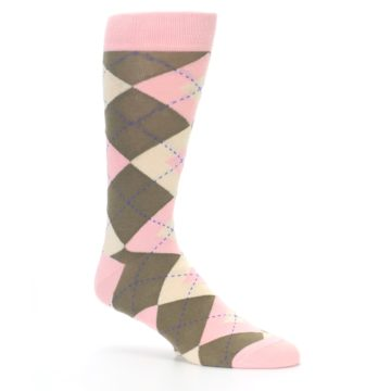 Image of Pink Brown Tan Argyle Wedding Groomsmen Men's Dress Socks (side-1-26)