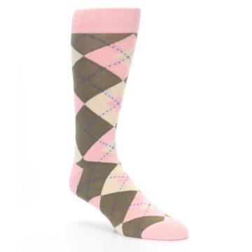 Image of Pink Brown Tan Argyle Wedding Groomsmen Men's Dress Socks (side-1-27)