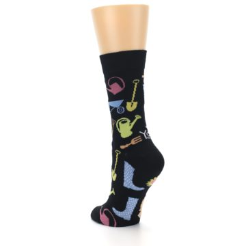 Image of Black Multi Gardening Women's Dress Socks (side-2-back-14)