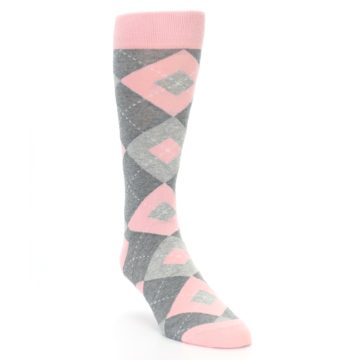 Image of Blossom Pink Gray Argyle Wedding Groomsmen Men's Dress Socks (side-1-front-02)