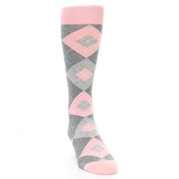 Image of Blossom Pink Gray Argyle Wedding Groomsmen Men's Dress Socks (side-1-front-03)