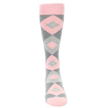 Image of Blossom Pink Gray Argyle Wedding Groomsmen Men's Dress Socks (front-04)