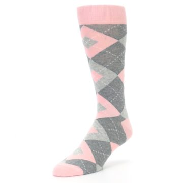 Image of Blossom Pink Gray Argyle Wedding Groomsmen Men's Dress Socks (side-2-front-08)