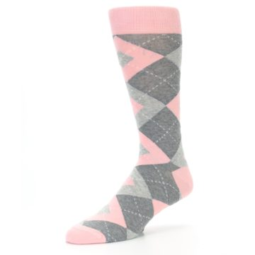 Image of Blossom Pink Gray Argyle Wedding Groomsmen Men's Dress Socks (side-2-09)