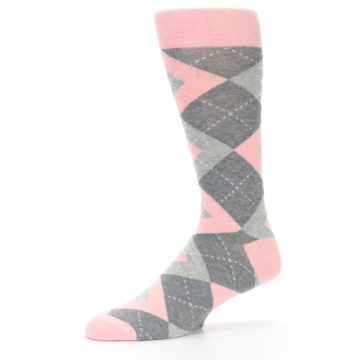 Image of Blossom Pink Gray Argyle Wedding Groomsmen Men's Dress Socks (side-2-10)