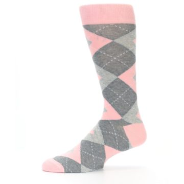 Image of Blossom Pink Gray Argyle Wedding Groomsmen Men's Dress Socks (side-2-11)