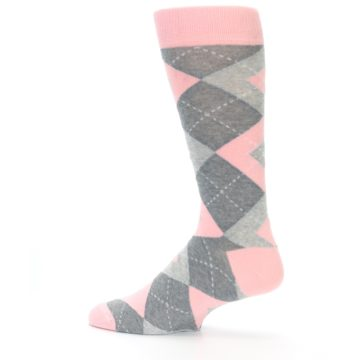 Image of Blossom Pink Gray Argyle Wedding Groomsmen Men's Dress Socks (side-2-13)