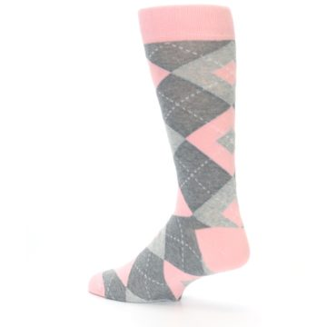 Image of Blossom Pink Gray Argyle Wedding Groomsmen Men's Dress Socks (side-2-back-14)