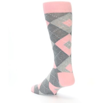 Image of Blossom Pink Gray Argyle Wedding Groomsmen Men's Dress Socks (side-2-back-15)