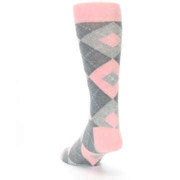 Image of Blossom Pink Gray Argyle Wedding Groomsmen Men's Dress Socks (side-2-back-16)
