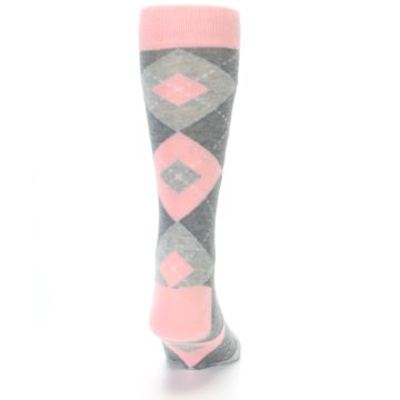 Image of Blossom Pink Gray Argyle Wedding Groomsmen Men's Dress Socks (back-19)