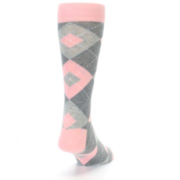 Image of Blossom Pink Gray Argyle Wedding Groomsmen Men's Dress Socks (side-1-back-20)