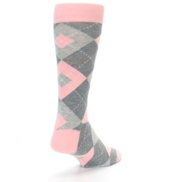 Image of Blossom Pink Gray Argyle Wedding Groomsmen Men's Dress Socks (side-1-back-21)