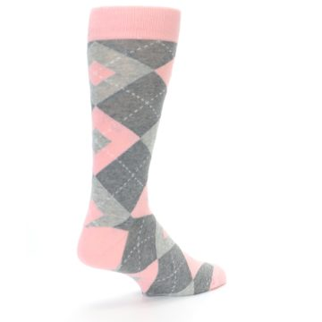 Image of Blossom Pink Gray Argyle Wedding Groomsmen Men's Dress Socks (side-1-back-22)
