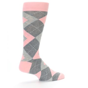 Image of Blossom Pink Gray Argyle Wedding Groomsmen Men's Dress Socks (side-1-23)