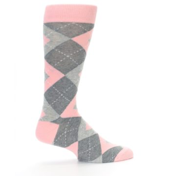 Image of Blossom Pink Gray Argyle Wedding Groomsmen Men's Dress Socks (side-1-24)