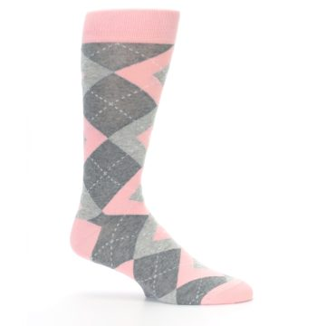 Image of Blossom Pink Gray Argyle Wedding Groomsmen Men's Dress Socks (side-1-25)