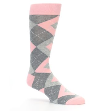 Image of Blossom Pink Gray Argyle Wedding Groomsmen Men's Dress Socks (side-1-26)