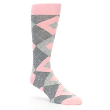 Image of Blossom Pink Gray Argyle Wedding Groomsmen Men's Dress Socks (side-1-27)