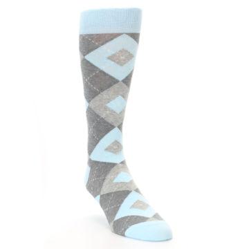 Image of Capri Blue Gray Argyle Men's Dress Socks (side-1-front-02)