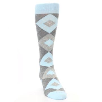 Image of Capri Blue Gray Argyle Men's Dress Socks (side-1-front-03)