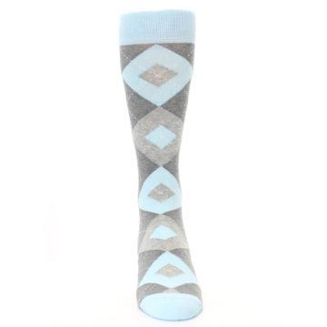 Image of Capri Blue Gray Argyle Men's Dress Socks (front-04)