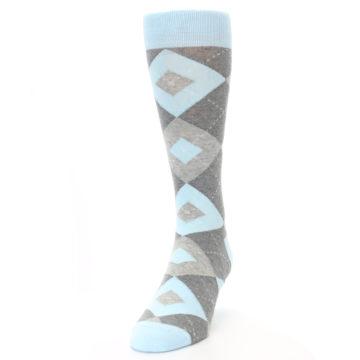 Image of Capri Blue Gray Argyle Men's Dress Socks (side-2-front-06)