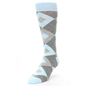 Image of Capri Blue Gray Argyle Men's Dress Socks (side-2-front-07)
