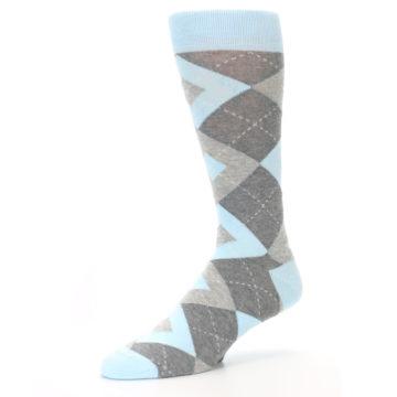 Image of Capri Blue Gray Argyle Men's Dress Socks (side-2-09)