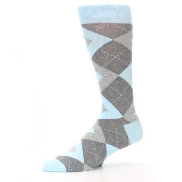 Image of Capri Blue Gray Argyle Men's Dress Socks (side-2-10)
