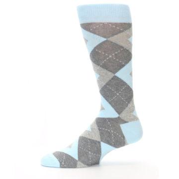 Image of Capri Blue Gray Argyle Men's Dress Socks (side-2-11)