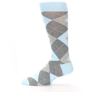 Image of Capri Blue Gray Argyle Men's Dress Socks (side-2-12)