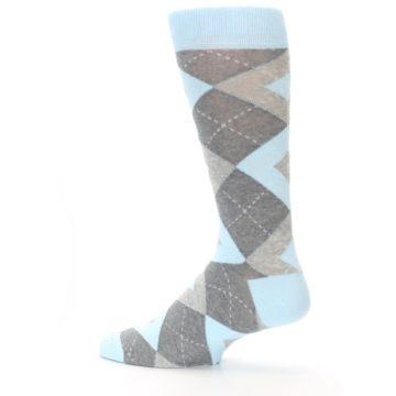 Image of Capri Blue Gray Argyle Men's Dress Socks (side-2-13)