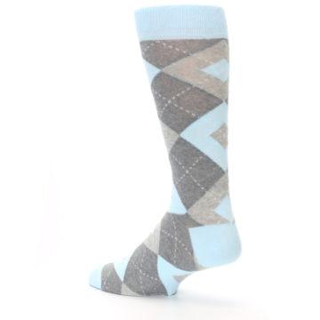 Image of Capri Blue Gray Argyle Men's Dress Socks (side-2-back-14)