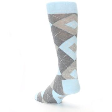 Image of Capri Blue Gray Argyle Men's Dress Socks (side-2-back-15)