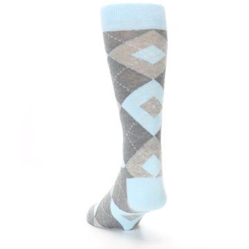 Image of Capri Blue Gray Argyle Men's Dress Socks (side-2-back-16)
