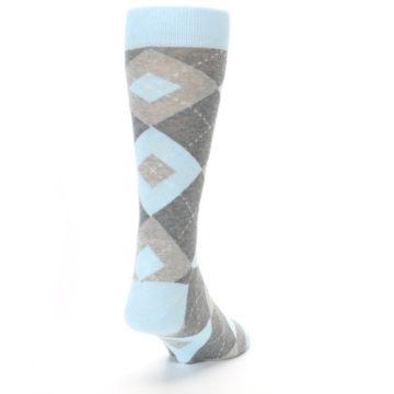 Image of Capri Blue Gray Argyle Men's Dress Socks (side-1-back-20)