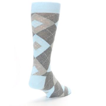 Image of Capri Blue Gray Argyle Men's Dress Socks (side-1-back-21)