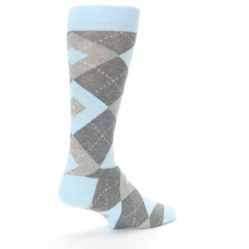 Image of Capri Blue Gray Argyle Men's Dress Socks (side-1-back-22)