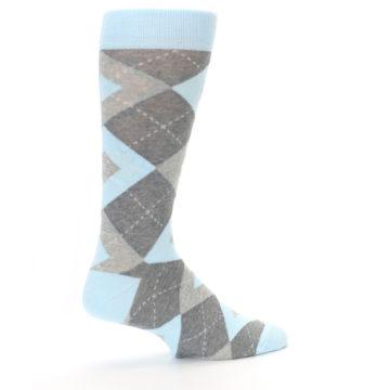 Image of Capri Blue Gray Argyle Men's Dress Socks (side-1-23)